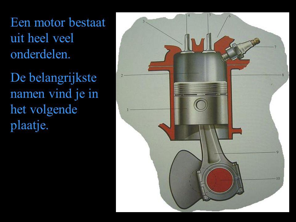 Een motor bestaat uit heel veel onderdelen. De belangrijkste namen vind je in het volgende plaatje.
