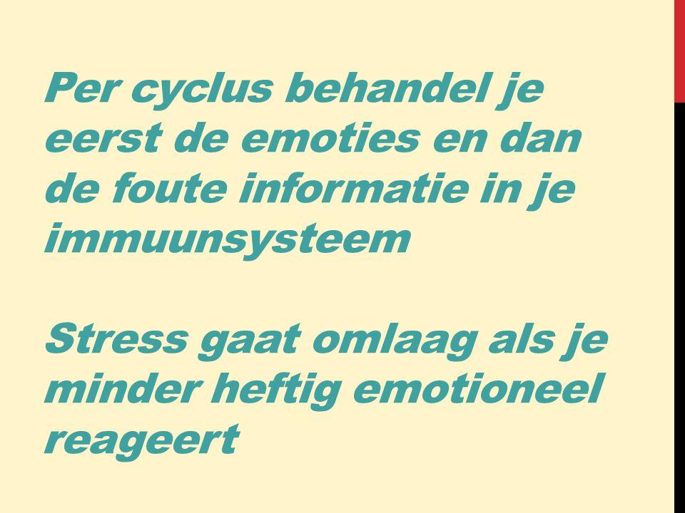 Per cyclus behandel je eerst de emoties en dan de foute informatie in je immuunsysteem Stress gaat omlaag als je minder heftig emotioneel reageert
