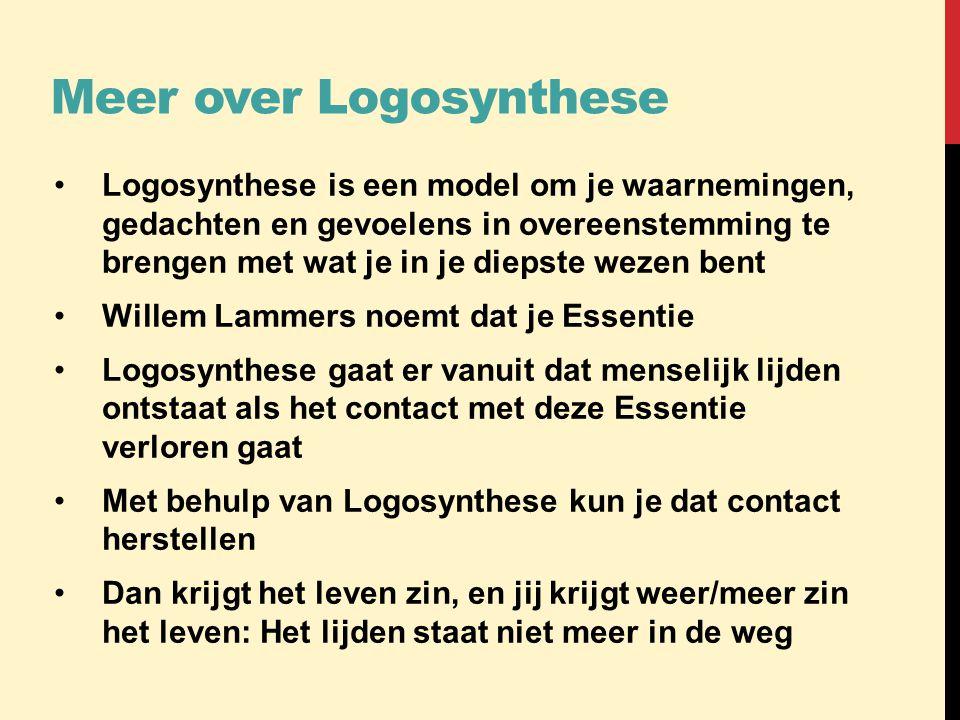 Meer over Logosynthese •Logosynthese is een model om je waarnemingen, gedachten en gevoelens in overeenstemming te brengen met wat je in je diepste we