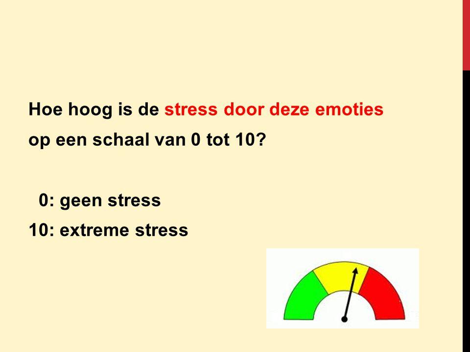 Hoe hoog is de stress door deze emoties op een schaal van 0 tot 10? 0: geen stress 10: extreme stress
