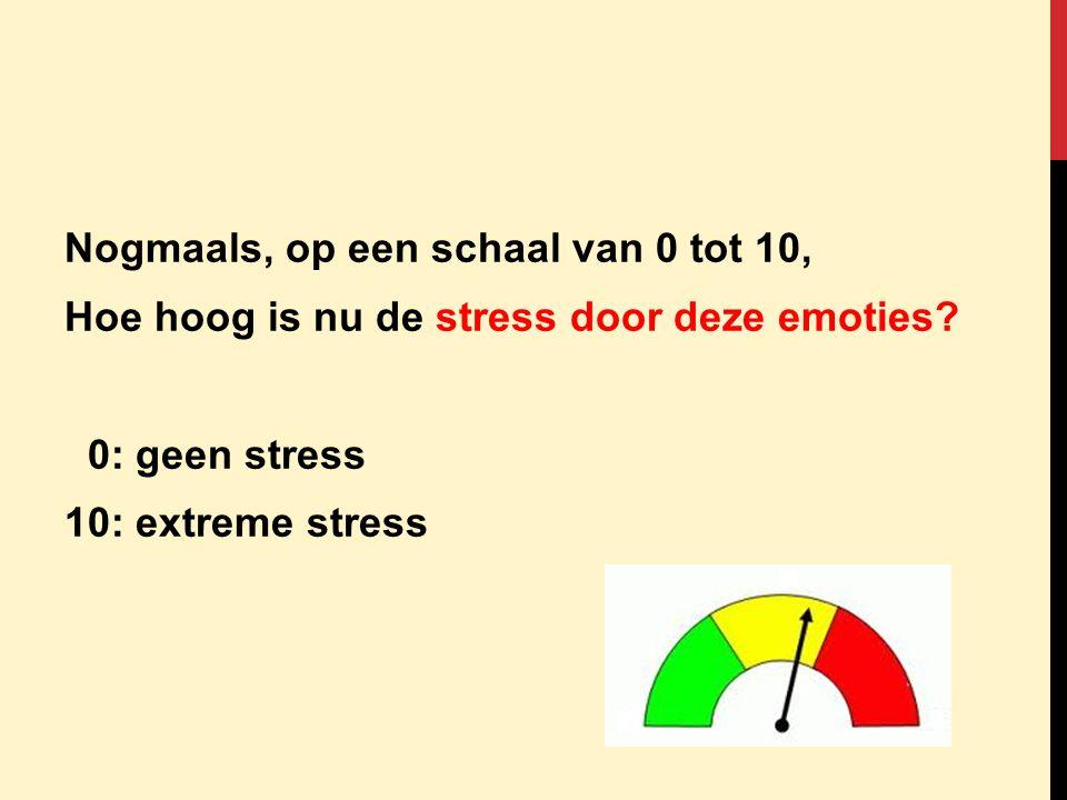 Nogmaals, op een schaal van 0 tot 10, Hoe hoog is nu de stress door deze emoties? 0: geen stress 10: extreme stress