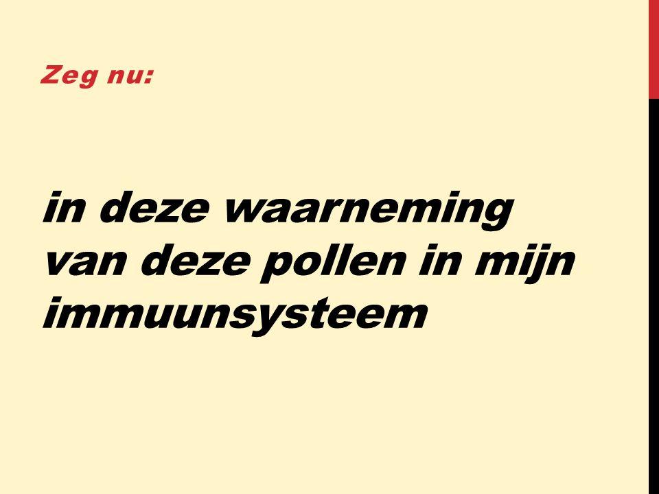 in deze waarneming van deze pollen in mijn immuunsysteem Zeg nu: