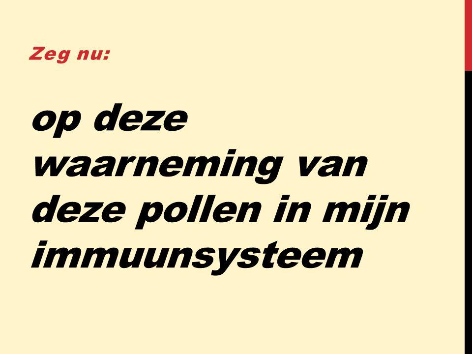 op deze waarneming van deze pollen in mijn immuunsysteem Zeg nu: