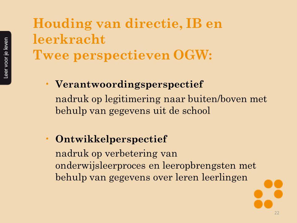 Houding van directie, IB en leerkracht Twee perspectieven OGW: • Verantwoordingsperspectief nadruk op legitimering naar buiten/boven met behulp van ge