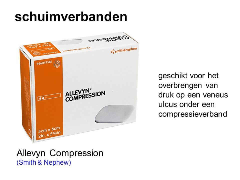schuimverbanden Allevyn Compression (Smith & Nephew) geschikt voor het overbrengen van druk op een veneus ulcus onder een compressieverband