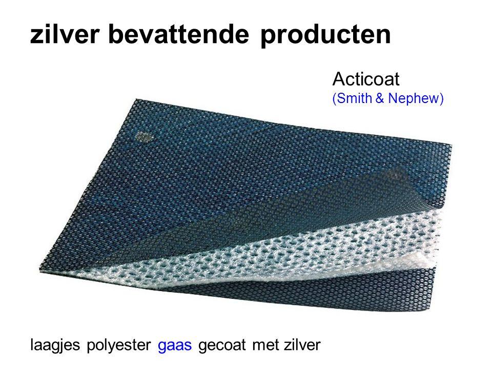 zilver bevattende producten laagjes polyester gaas gecoat met zilver Acticoat (Smith & Nephew)