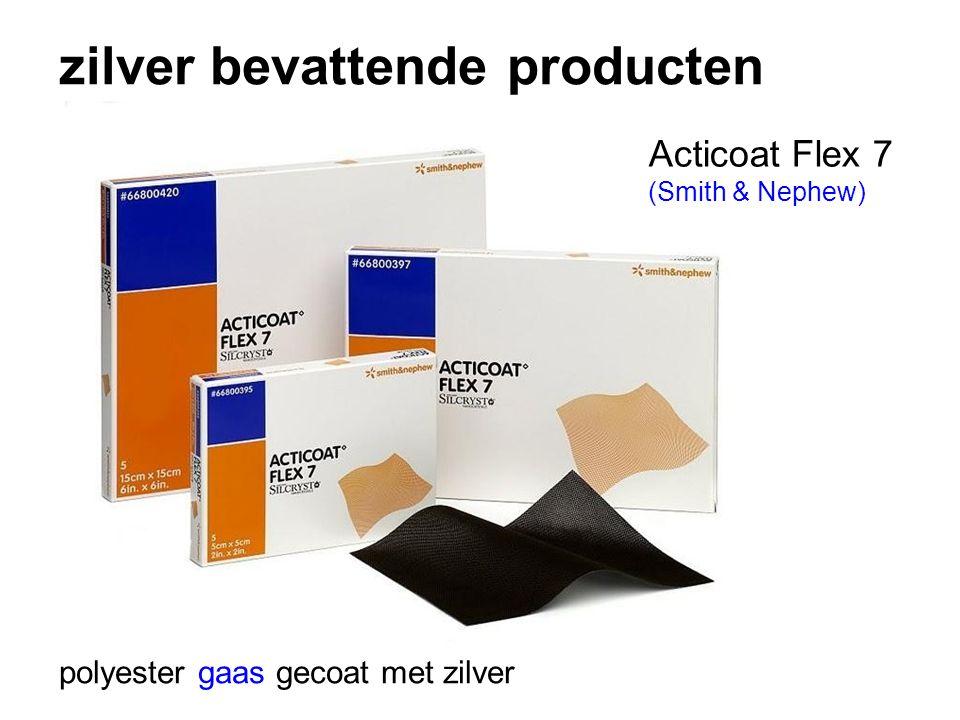 zilver bevattende producten polyester gaas gecoat met zilver Acticoat Flex 7 (Smith & Nephew)