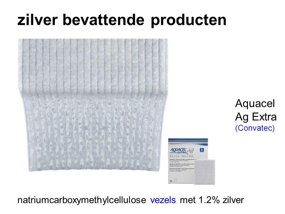 zilver bevattende producten natriumcarboxymethylcellulose vezels met 1.2% zilver Aquacel Ag Extra (Convatec)