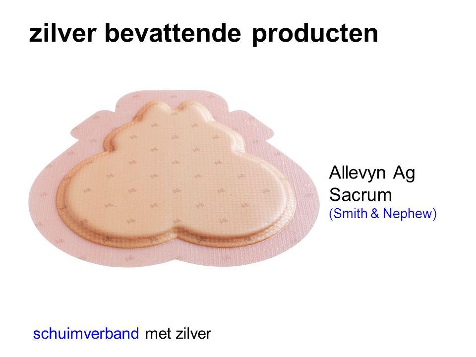 zilver bevattende producten schuimverband met zilver Allevyn Ag Sacrum (Smith & Nephew)