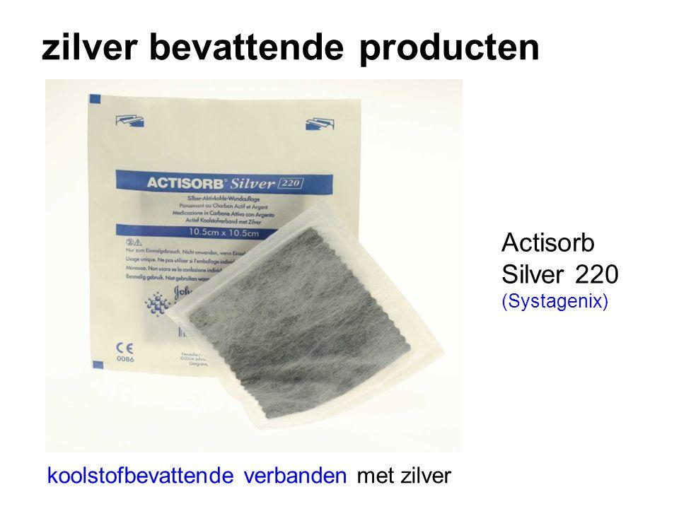 zilver bevattende producten koolstofbevattende verbanden met zilver Actisorb Silver 220 (Systagenix)