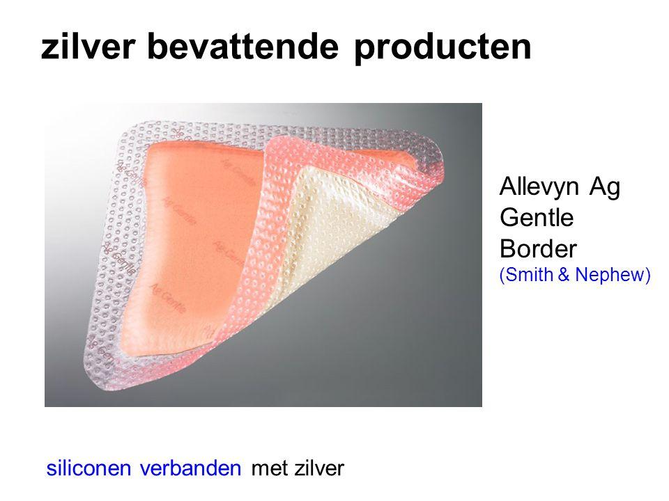 zilver bevattende producten siliconen verbanden met zilver Allevyn Ag Gentle Border (Smith & Nephew)