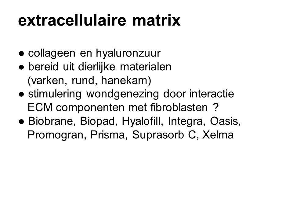 extracellulaire matrix ● collageen en hyaluronzuur ● bereid uit dierlijke materialen (varken, rund, hanekam) ● stimulering wondgenezing door interactie ECM componenten met fibroblasten .