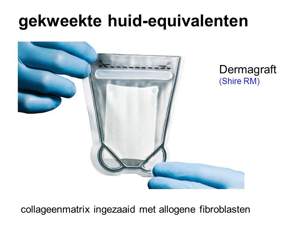 gekweekte huid-equivalenten collageenmatrix ingezaaid met allogene fibroblasten Dermagraft (Shire RM)