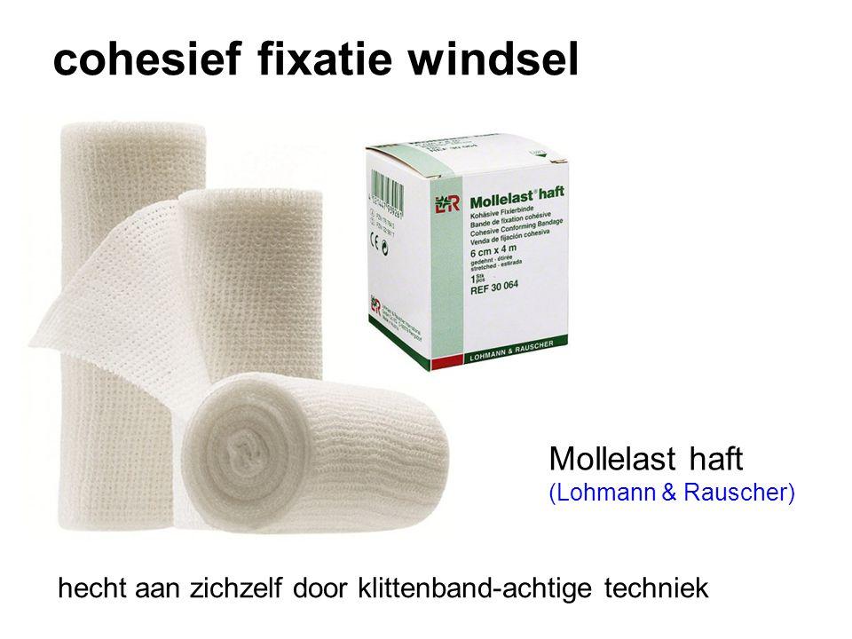cohesief fixatie windsel hecht aan zichzelf door klittenband-achtige techniek Mollelast haft (Lohmann & Rauscher)