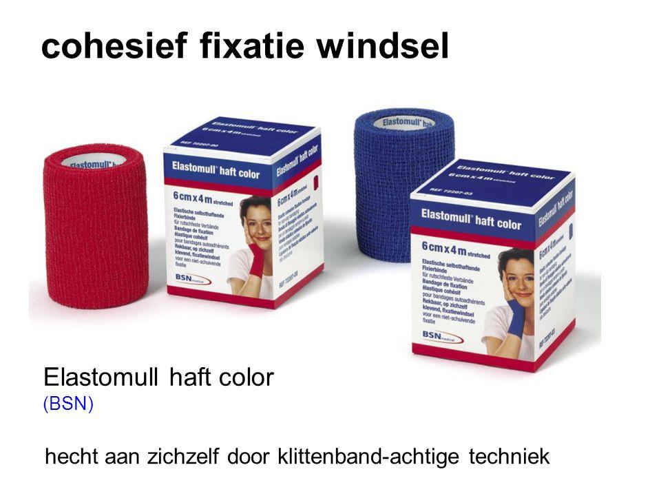 cohesief fixatie windsel hecht aan zichzelf door klittenband-achtige techniek Elastomull haft color (BSN)