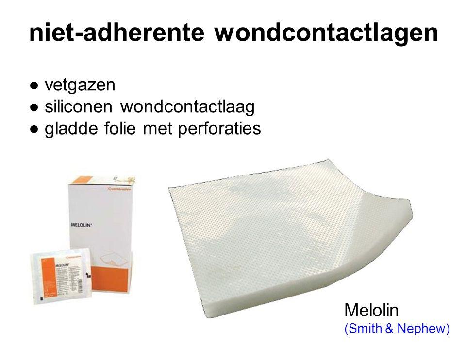 niet-adherente wondcontactlagen ● vetgazen ● siliconen wondcontactlaag ● gladde folie met perforaties Melolin (Smith & Nephew)