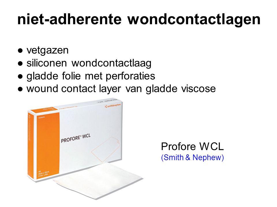 niet-adherente wondcontactlagen ● vetgazen ● siliconen wondcontactlaag ● gladde folie met perforaties ● wound contact layer van gladde viscose Profore WCL (Smith & Nephew)