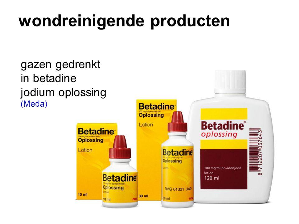 wondreinigende producten gazen gedrenkt in betadine jodium oplossing (Meda)
