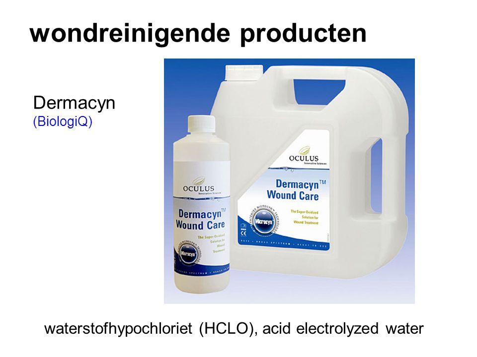 wondreinigende producten Dermacyn (BiologiQ) waterstofhypochloriet (HCLO), acid electrolyzed water