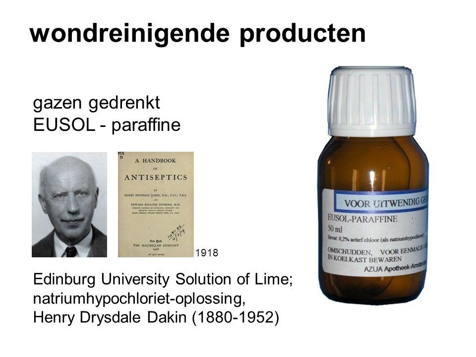 wondreinigende producten gazen gedrenkt EUSOL - paraffine Edinburg University Solution of Lime; natriumhypochloriet-oplossing, Henry Drysdale Dakin (1880-1952) 1918