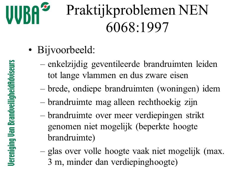 Praktijkproblemen NEN 6068:1997 •Bijvoorbeeld: –enkelzijdig geventileerde brandruimten leiden tot lange vlammen en dus zware eisen –brede, ondiepe bra