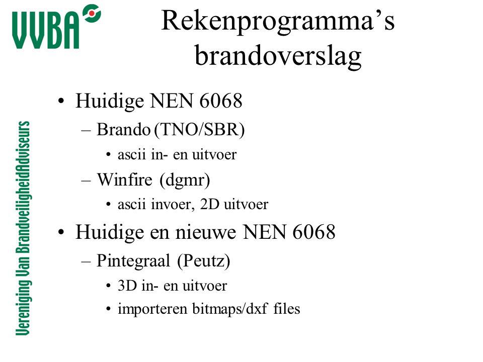 Rekenprogramma's brandoverslag •Huidige NEN 6068 –Brando(TNO/SBR) •ascii in- en uitvoer –Winfire (dgmr) •ascii invoer, 2D uitvoer •Huidige en nieuwe N