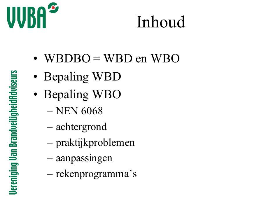 Inhoud •WBDBO = WBD en WBO •Bepaling WBD •Bepaling WBO –NEN 6068 –achtergrond –praktijkproblemen –aanpassingen –rekenprogramma's