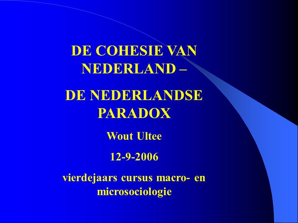 DE COHESIE VAN NEDERLAND – DE NEDERLANDSE PARADOX Wout Ultee 12-9-2006 vierdejaars cursus macro- en microsociologie