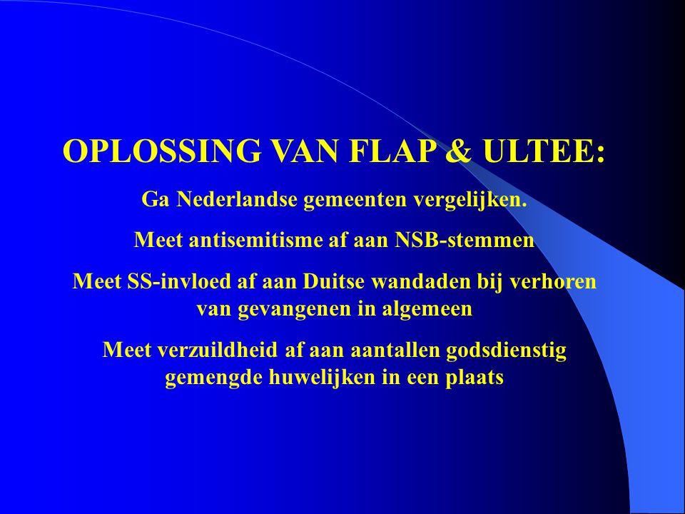 OPLOSSING VAN FLAP & ULTEE: Ga Nederlandse gemeenten vergelijken. Meet antisemitisme af aan NSB-stemmen Meet SS-invloed af aan Duitse wandaden bij ver