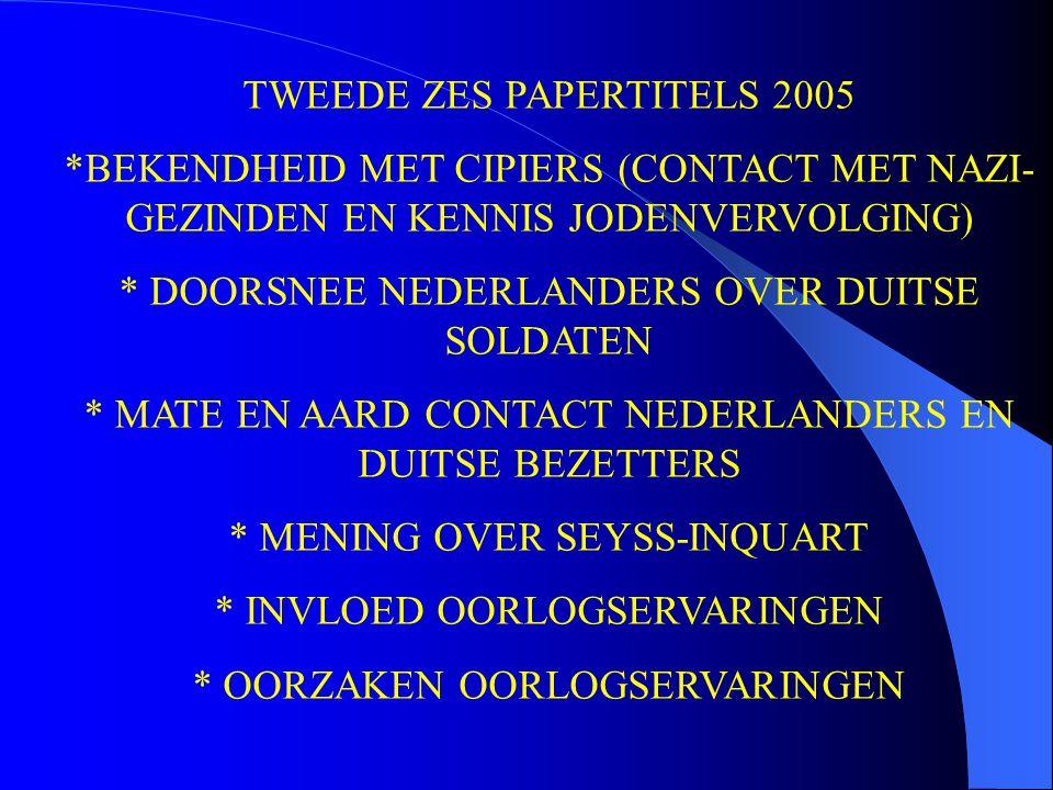 TWEEDE ZES PAPERTITELS 2005 *BEKENDHEID MET CIPIERS (CONTACT MET NAZI- GEZINDEN EN KENNIS JODENVERVOLGING) * DOORSNEE NEDERLANDERS OVER DUITSE SOLDATE