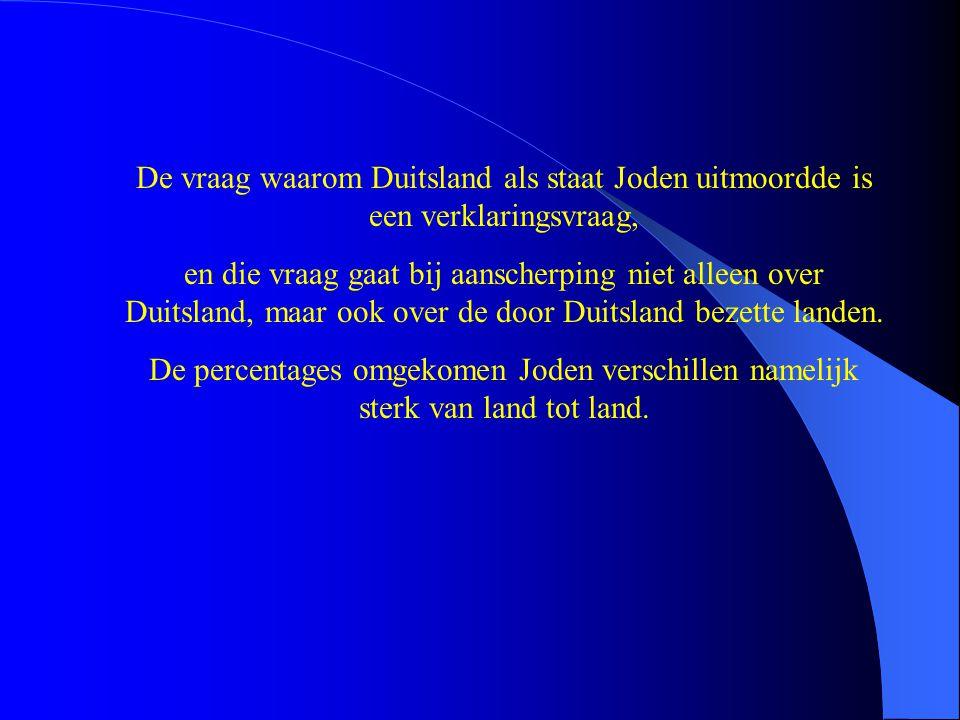 De percentages omgebrachte Joden verschillen per bezet land en het Nederlandse percentage ligt boven het gemiddelde Hoe kan het hoge percentage omgebrachte Nederlandse joden worden verklaard?