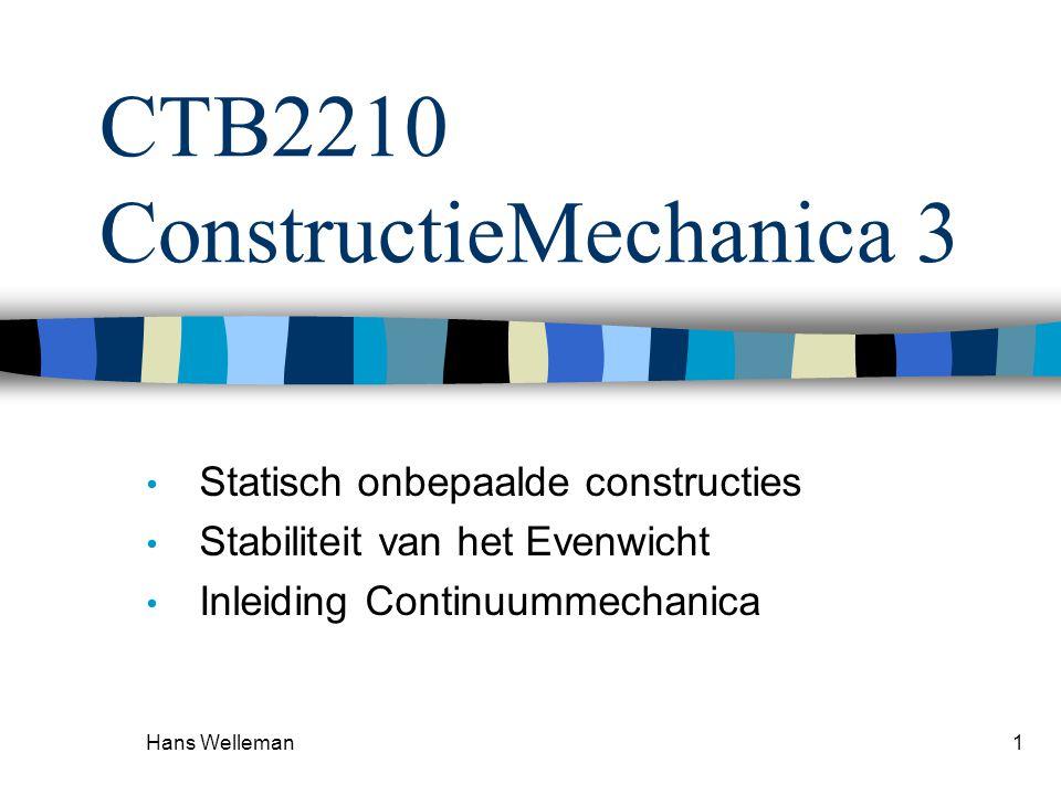 Hans Welleman1 CTB2210 ConstructieMechanica 3 • Statisch onbepaalde constructies • Stabiliteit van het Evenwicht • Inleiding Continuummechanica