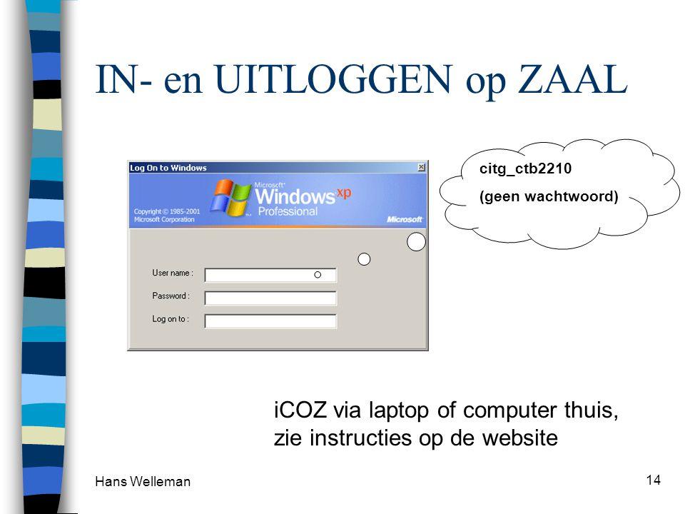 IN- en UITLOGGEN op ZAAL Hans Welleman 14 citg_ctb2210 (geen wachtwoord) iCOZ via laptop of computer thuis, zie instructies op de website