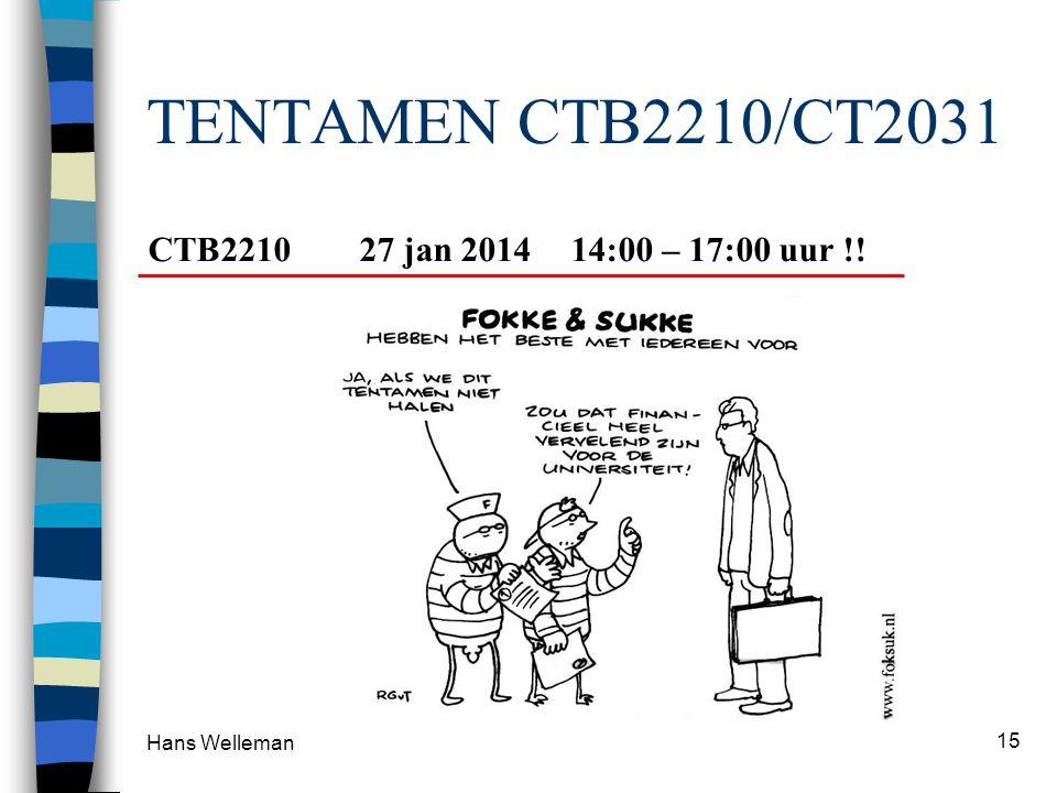 TENTAMEN CTB2210/CT2031 Hans Welleman 15 CTB221027 jan 201414:00 – 17:00 uur !!