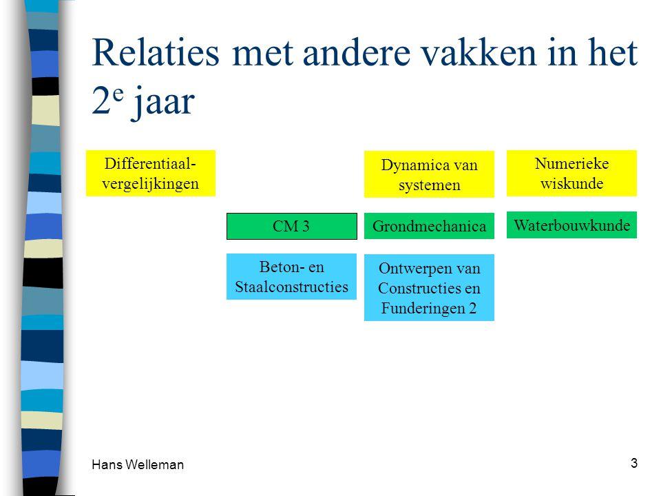 Relaties met andere vakken in het 2 e jaar Hans Welleman 3 CM 3 Beton- en Staalconstructies Waterbouwkunde Dynamica van systemen Numerieke wiskunde Ontwerpen van Constructies en Funderingen 2 Grondmechanica Differentiaal- vergelijkingen