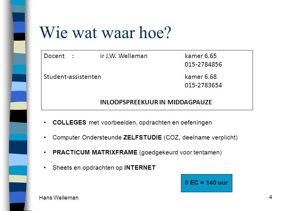 Hans Welleman 4 Wie wat waar hoe.Docent :ir J.W.