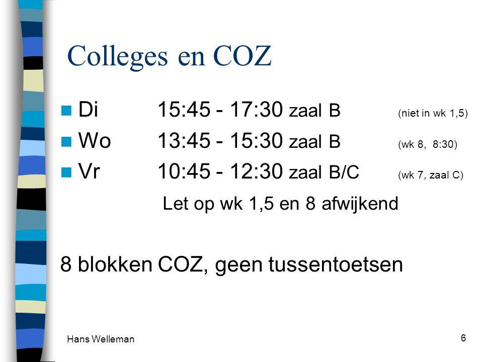 Colleges en COZ  Di 15:45 - 17:30 zaal B (niet in wk 1,5)  Wo13:45 - 15:30 zaal B (wk 8, 8:30)  Vr 10:45 - 12:30 zaal B/C (wk 7, zaal C) Let op wk 1,5 en 8 afwijkend 8 blokken COZ, geen tussentoetsen Hans Welleman 6