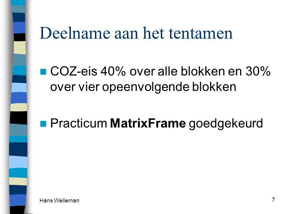 Deelname aan het tentamen  COZ-eis 40% over alle blokken en 30% over vier opeenvolgende blokken  Practicum MatrixFrame goedgekeurd Hans Welleman 7