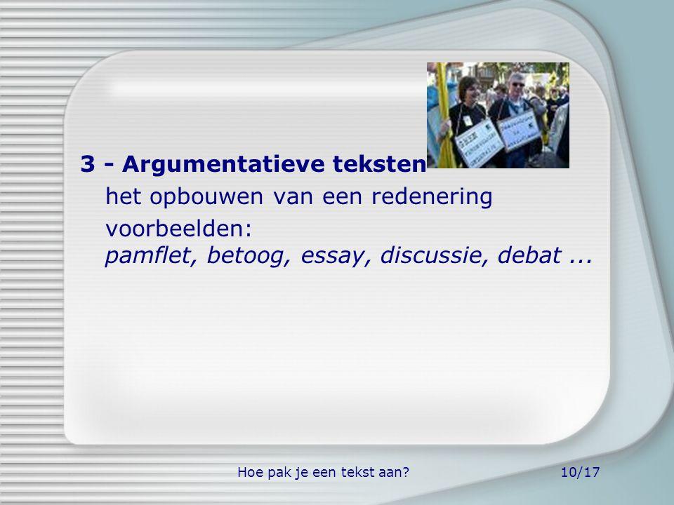 Hoe pak je een tekst aan?10/17 3 - Argumentatieve teksten het opbouwen van een redenering voorbeelden: pamflet, betoog, essay, discussie, debat...