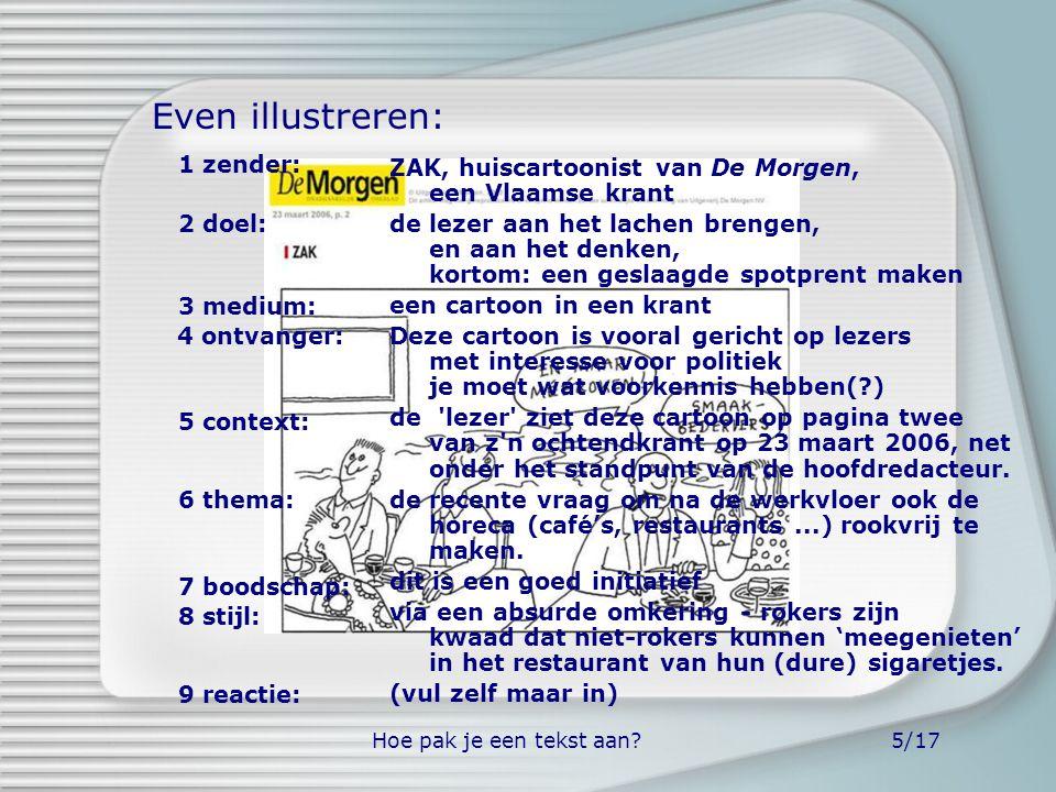 Hoe pak je een tekst aan?5/17 ZAK, huiscartoonist van De Morgen, een Vlaamse krant de lezer aan het lachen brengen, en aan het denken, kortom: een ges