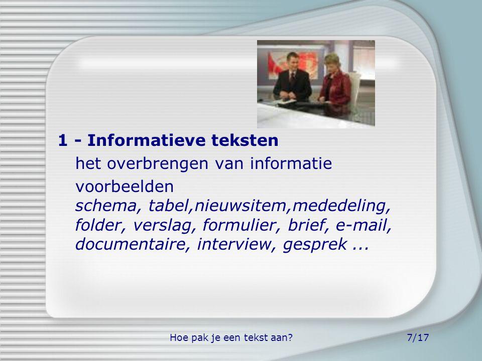 Hoe pak je een tekst aan?7/17 1 - Informatieve teksten het overbrengen van informatie voorbeelden schema, tabel,nieuwsitem,mededeling, folder, verslag