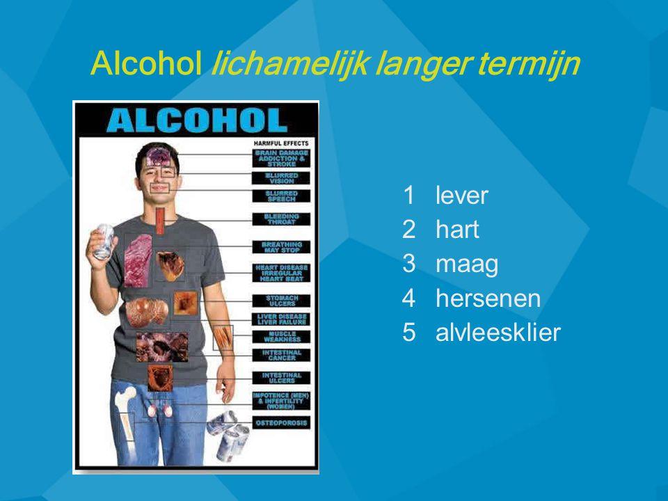 1lever 2hart 3maag 4hersenen 5alvleesklier Alcohol lichamelijk langer termijn