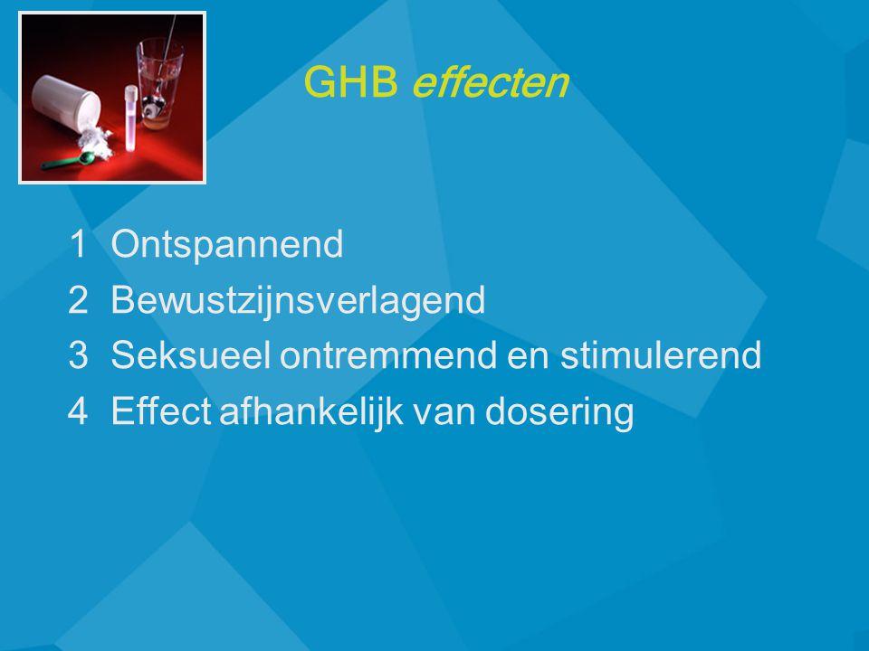 1 Ontspannend 2 Bewustzijnsverlagend 3 Seksueel ontremmend en stimulerend 4 Effect afhankelijk van dosering GHB effecten