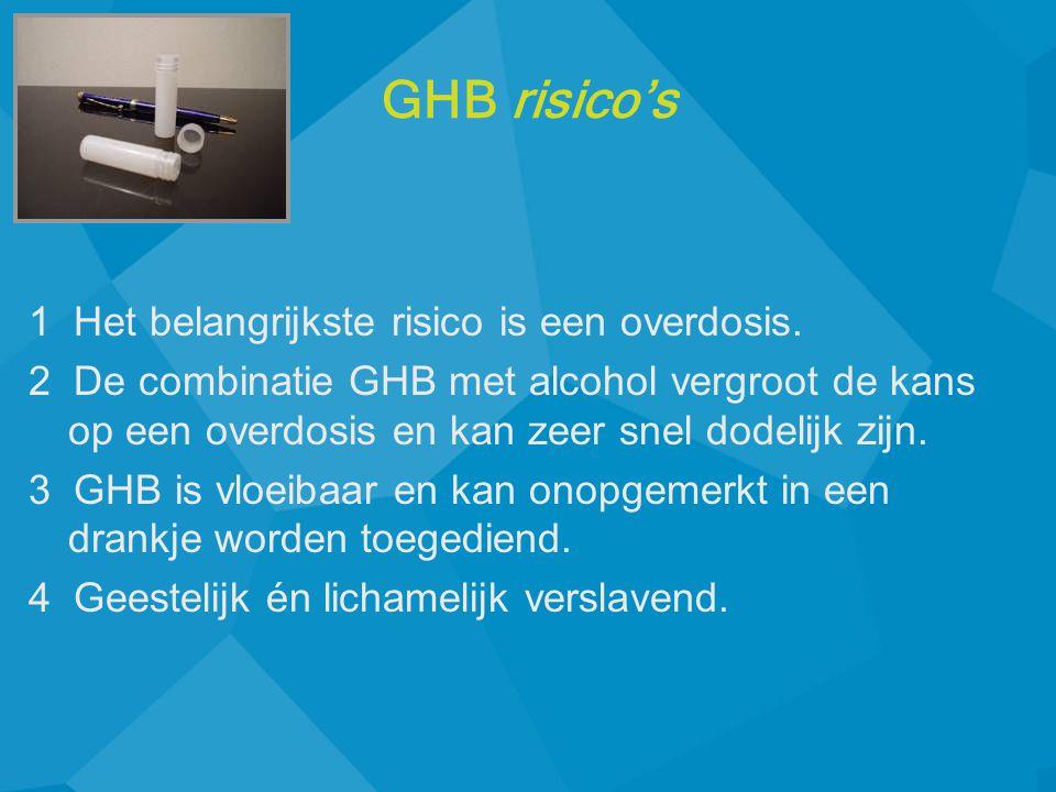 1 Het belangrijkste risico is een overdosis. 2 De combinatie GHB met alcohol vergroot de kans op een overdosis en kan zeer snel dodelijk zijn. 3 GHB i