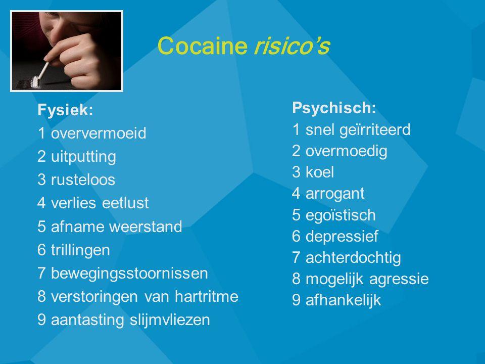 Fysiek: 1 oververmoeid 2 uitputting 3 rusteloos 4 verlies eetlust 5 afname weerstand 6 trillingen 7 bewegingsstoornissen 8 verstoringen van hartritme 9 aantasting slijmvliezen Psychisch: 1 snel ge ï rriteerd 2 overmoedig 3 koel 4 arrogant 5 ego ï stisch 6 depressief 7 achterdochtig 8 mogelijk agressie 9 afhankelijk Cocaine risico's
