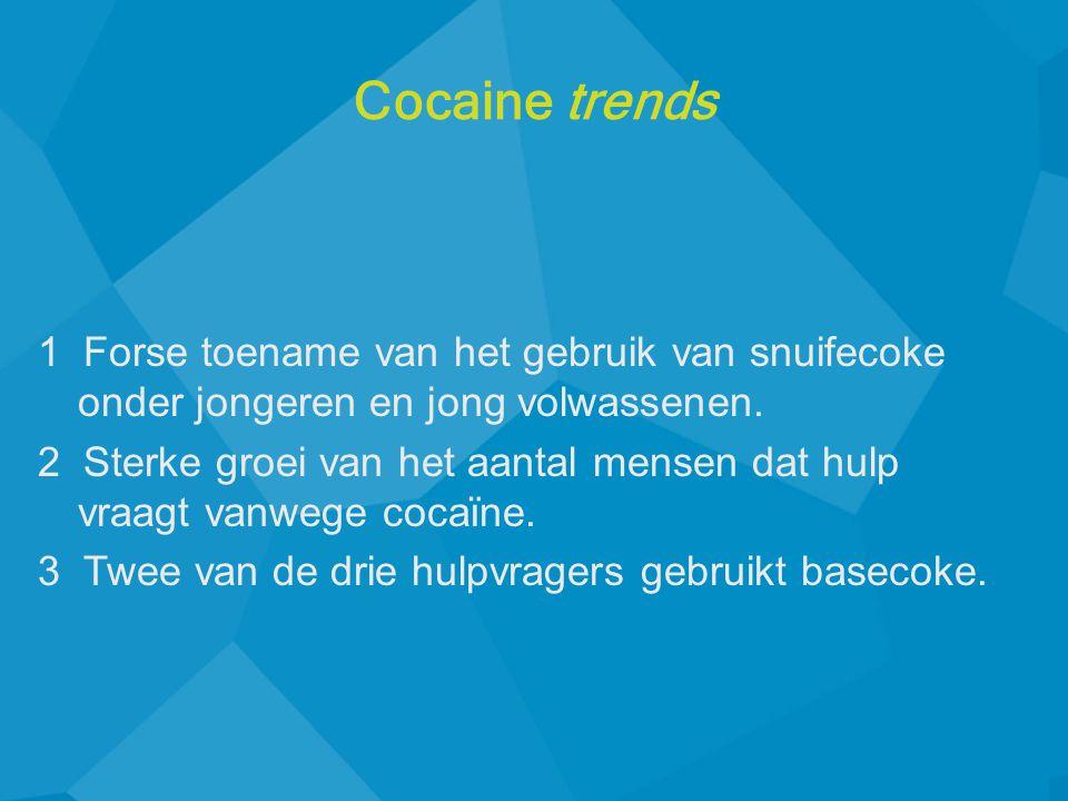 1 Forse toename van het gebruik van snuifecoke onder jongeren en jong volwassenen. 2 Sterke groei van het aantal mensen dat hulp vraagt vanwege coca ï