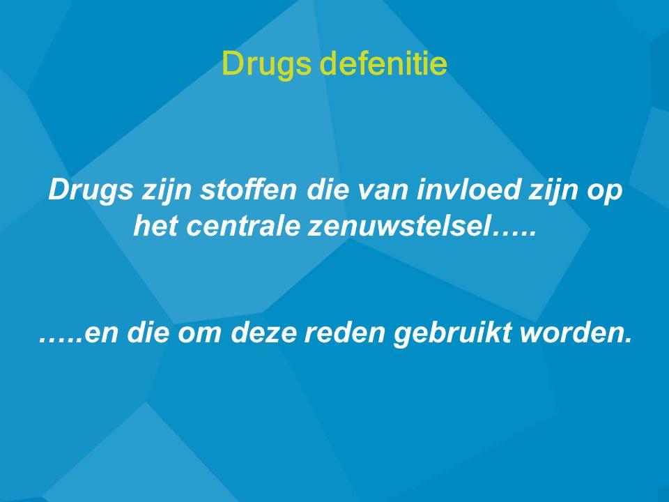Drugs zijn stoffen die van invloed zijn op het centrale zenuwstelsel….. …..en die om deze reden gebruikt worden. Drugs defenitie