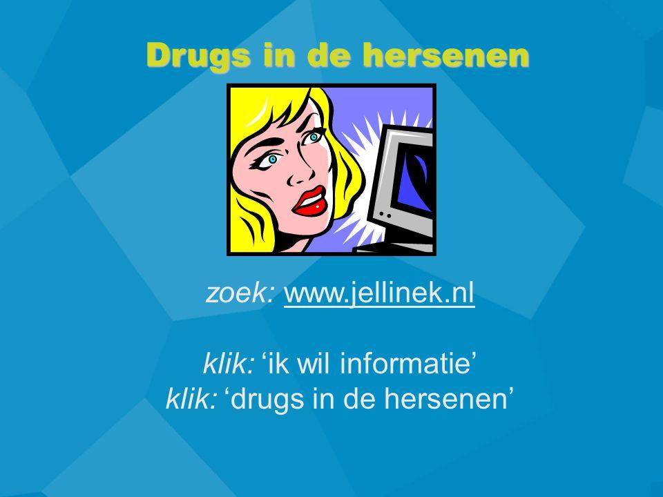 Drugs in de hersenen zoek: www.jellinek.nlwww.jellinek.nl klik: 'ik wil informatie' klik: 'drugs in de hersenen'