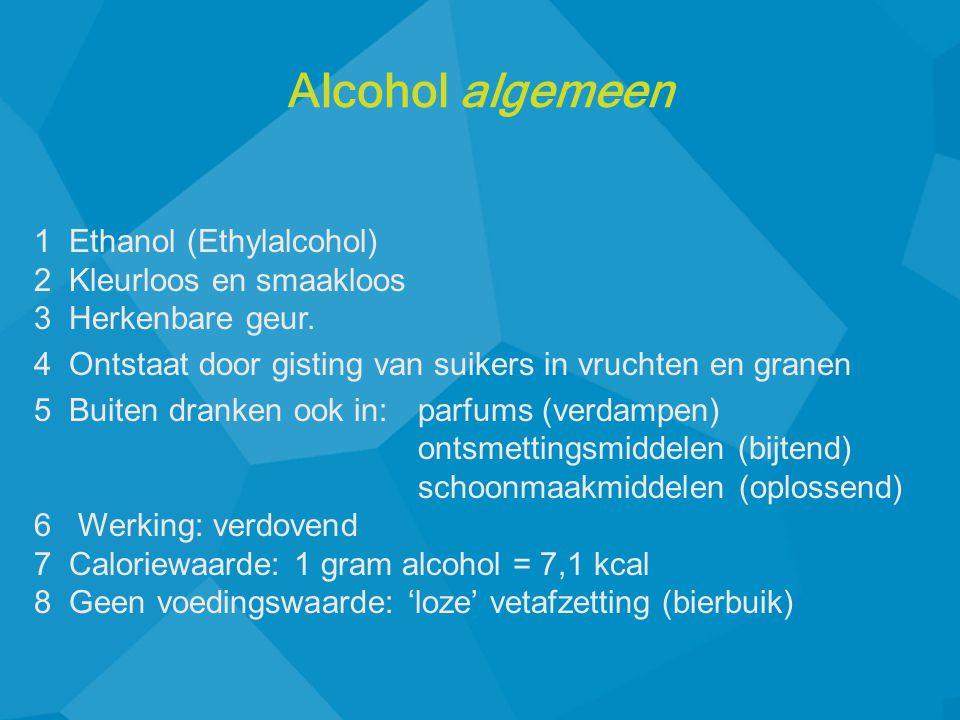 1 Ethanol (Ethylalcohol) 2 Kleurloos en smaakloos 3 Herkenbare geur.