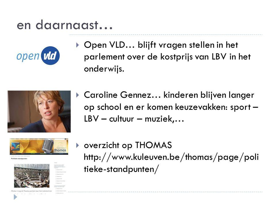 en daarnaast…  Open VLD… blijft vragen stellen in het parlement over de kostprijs van LBV in het onderwijs.  Caroline Gennez… kinderen blijven lange